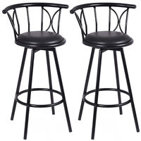2pcs Modern Black High Bar Stools Barstools Swivel Rotatable Chairs Steel Tall Counter Bar Chair For Home Bar Furniture HW51779