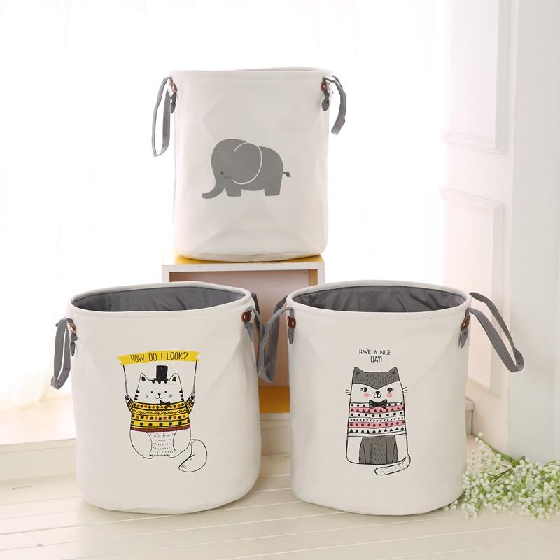 NEW Cartoon Storage barrel Foldable Bath Hamper Dirty Clothes Storage Bags Toy Organizer for kids Laundry Basket