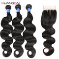 8A Malaysian Virgin Hair With Closure Malaysian Body Wave 3 Bundles with Closure Human hair Weave Bundles with Closure