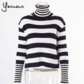 Yanueun 2017 Autumn Winter Women Turtleneck Long Sleeve Striped Sweater And Pullover Ladies Oversized Pull Femme Warm Sweater