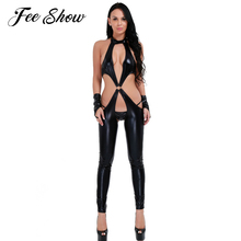 Sexy Women Faux Leather Erotic Fetish Lingerie Bodysuit  Women Faux Leather Erotic Lingerie Jumpsuit with G-string and Gloves