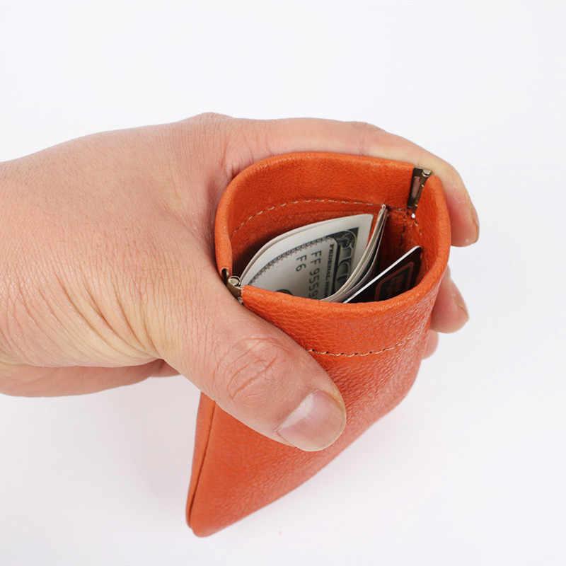LEACOOL 100% Couro Genuíno Dos Homens Das Mulheres de Mini Bolsa Da Moeda Multifuncional Carteira Pequena Saco de Dinheiro Bolsa De Mola de Metal Chave Titular Caso
