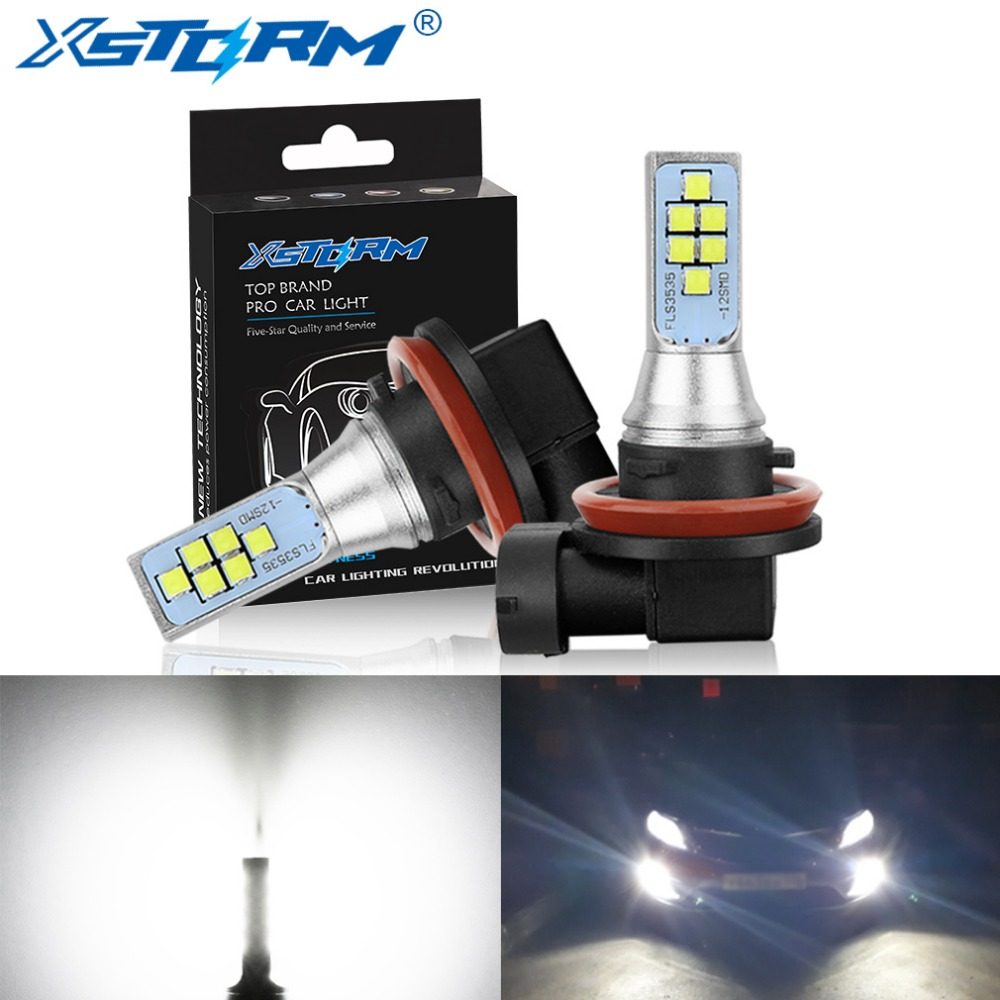 цена на 2Pcs H11 H8 Led Bulb 9005 HB3 9006 HB4 H16 5202 PSX24W Led Car Fog Light 1400LM 6000K White 12V 24V DRL Auto Lamp Bulbs
