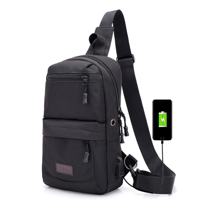 New Casual High Capacity Chest Bag For Men&Female Canvas USB Sling Shoulder Bag Casual C ...
