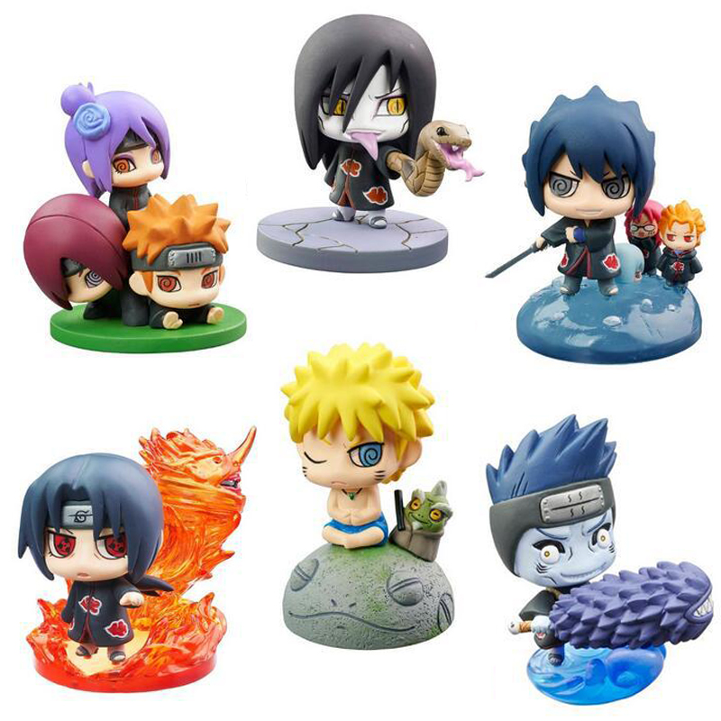 6pcs/set Naruto Action Figure With Mounts Sasuke Uzumaki Kakashi Gaara Japan Anime Collections Toys Gift To Kids #E 16cm 1 10 pvc japanese anime naruto action figure obito uchiha sasuke kakashi madara gaara orochimaru akatsuki nagato gs185