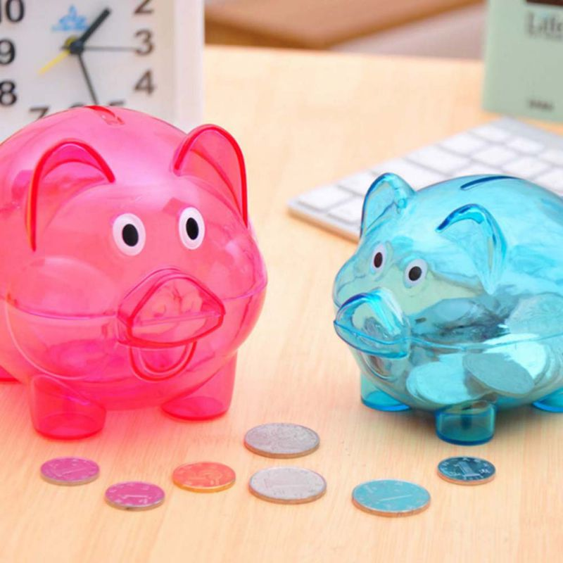 Transparent Cute Pig Figures Cartoon Pig Money Saving Box Transparent Plastic Case Coins Piggy Bank Safety Money Saving Case