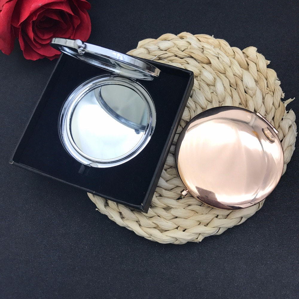 High quality sliver Golden Rose Golden Plate of pocket mirror Personalized engraved logo is available gift