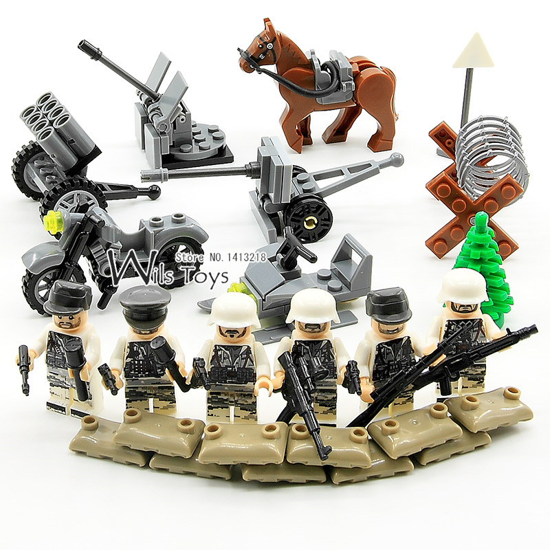 6pcs German Army Military World War 2 Snow Winter Soldier Special Forces CS SWAT Team Building Blocks Educational Toys Boys Gift world war ii german wwii wehrmacht officer 1 6 soldier set model stanford erich vo gm637 for gift collection