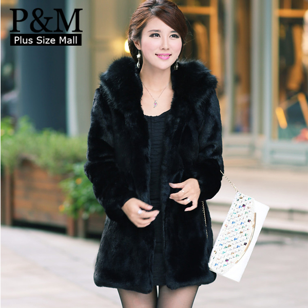 Womens Black Fur Coat With Hood - Tradingbasis