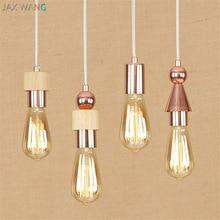 цена American Minimalist Creative Wood Pendant Lights Rose Gold Hanging Lamp for Living Room kitchen Bedroom de hanging light fixture онлайн в 2017 году
