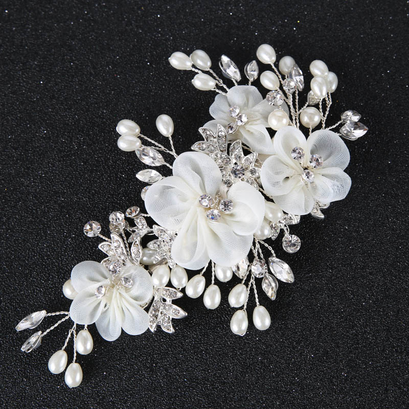 Bridal Jewelry Sets Women Chinese Style Red Floral Elegant Wedding Hair Band Earrings Ladies Luxury Shining Rhinestone Simulation Pearl Jewelry Set Reliable Performance