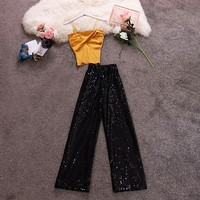 2019 female condole belt cross fold sweater of tall waist sequins wide legged pants suit Sleeveless