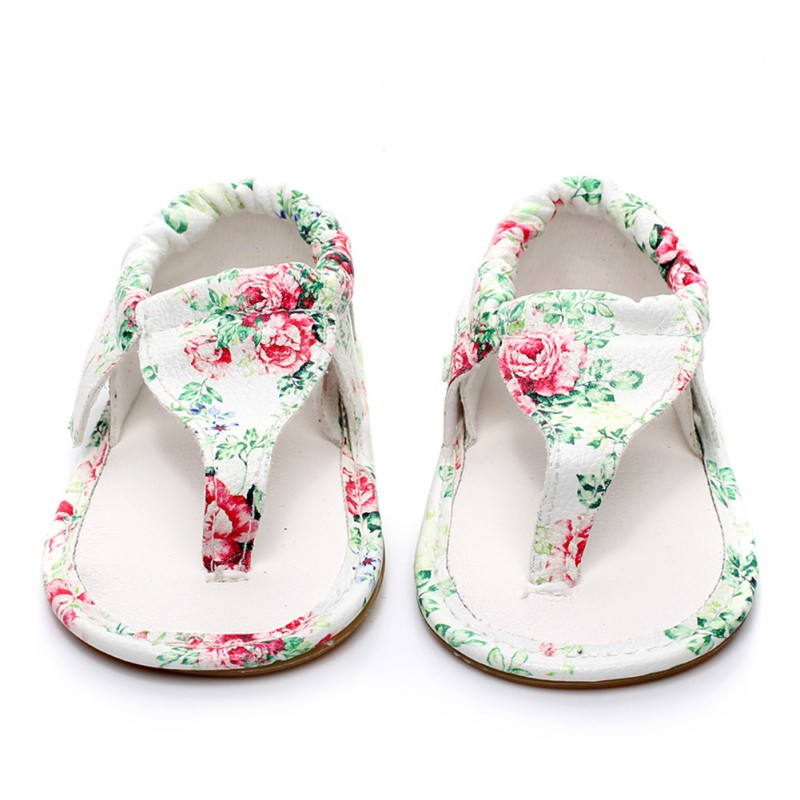 Summer Print Girl Sandals Fashion Beach Girls Shoes Flowers Newborn Baby Cloth Herringbone Plywood Sandals For Girls Shoes