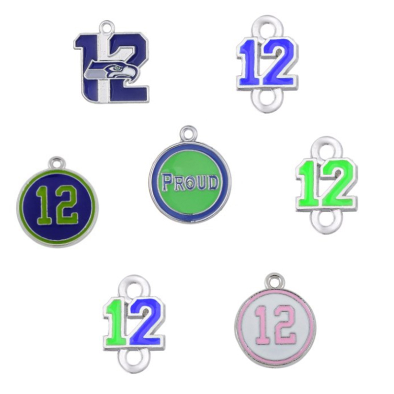 7 Styles Enamel Football Proud And Loud Seahawks Spirit Of 12 the Forever 12 Pendant Charms For All DIY Sport Jewelry