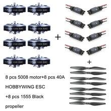 8 pces 5008 400kv motor sem escova + 8 pces 40a esc + 8 1555 hélice para rc avião