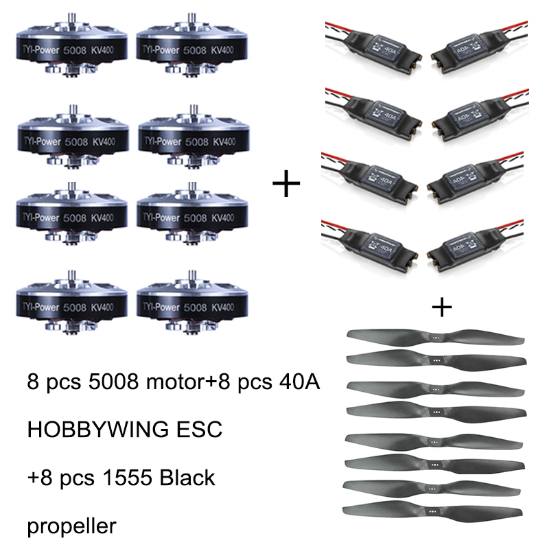 8pcs 5008 400KV Brushless Motor +8pcs 40A ESC +8pcs 1555  Propeller for RC Plane 4pcs 6215 170kv brushless outrunner motor with hv 80a esc 2055 propeller for rc aircraft plane multi copter