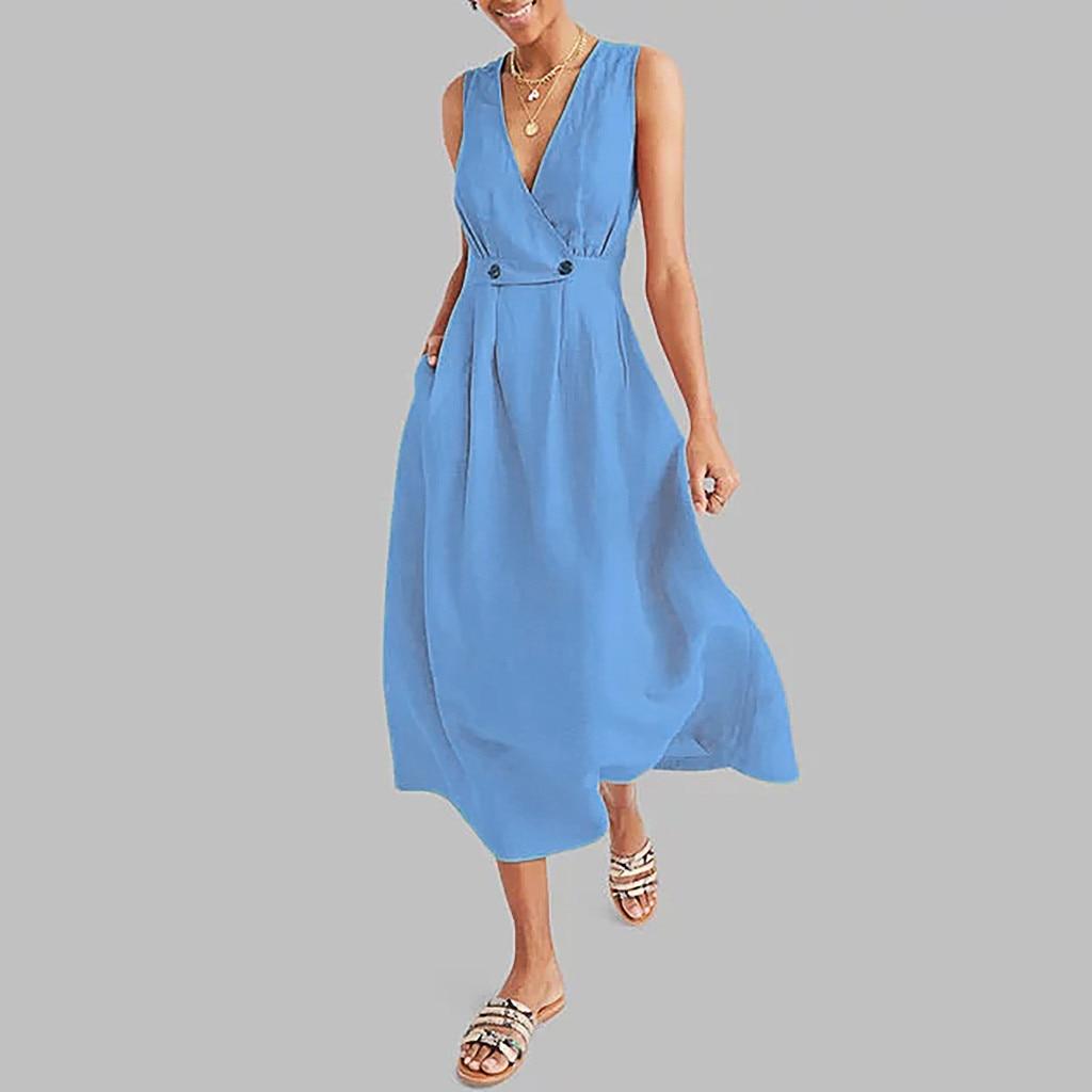 high-waist-waist-summer-retro-beach-dress-solid-color-sleeveless-v-neck-a-line-pocket-dress-fashion-party-high-quality-dresses-x