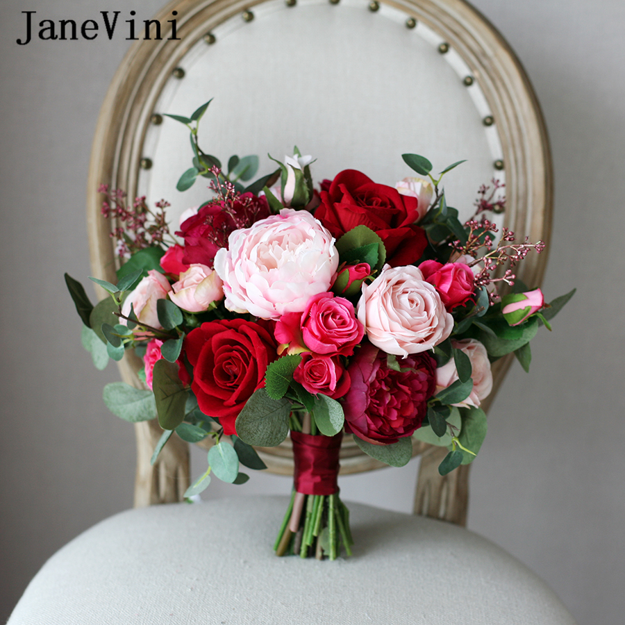 JaneVini Romantic Red Wedding Bride Bouquet Silk Roses Bridal Holding Bouquets Burgundy Pink Artificial Flowers Bouquet Mariage