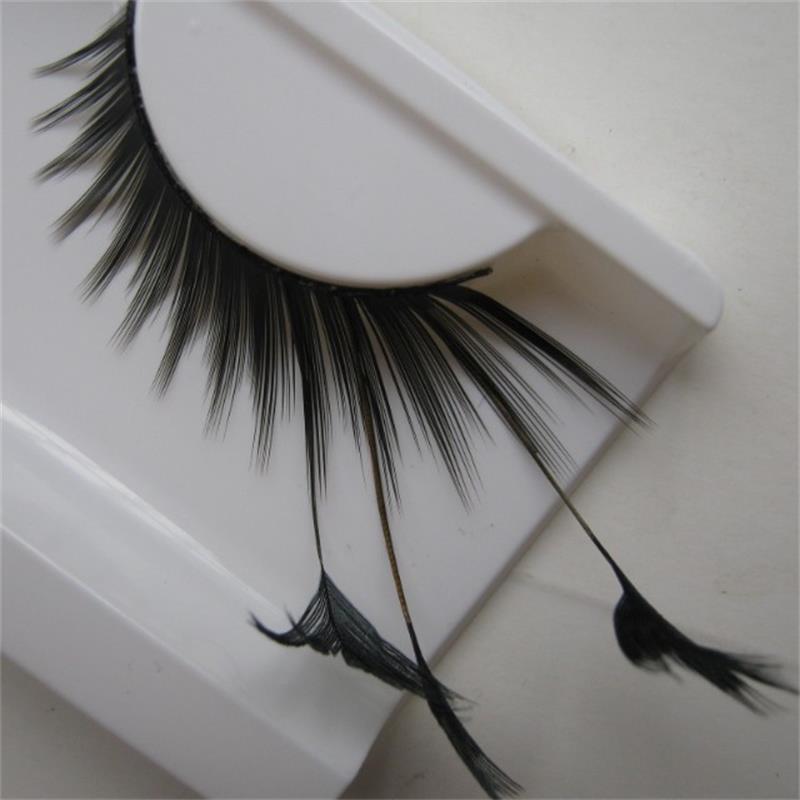 New Stage Art Form Feather False Eyelashes Makeup Eye Tail Lengthened Black Feathers YM82