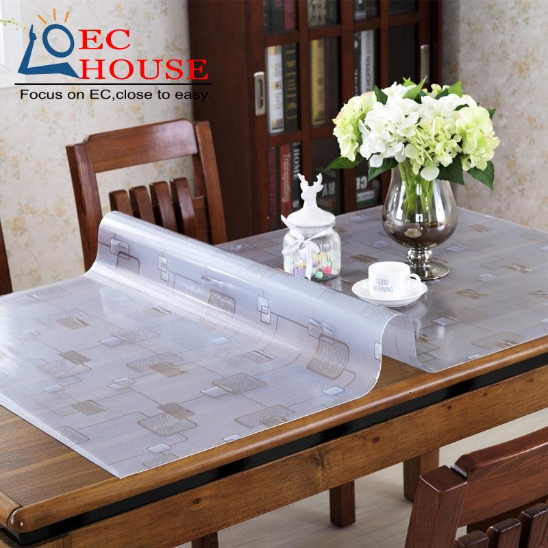 BB#PVC Transparent Plastic Disposable Tablecloth Waterproof Cloth Hot Soft  Glass Mat Table Crystal Plate