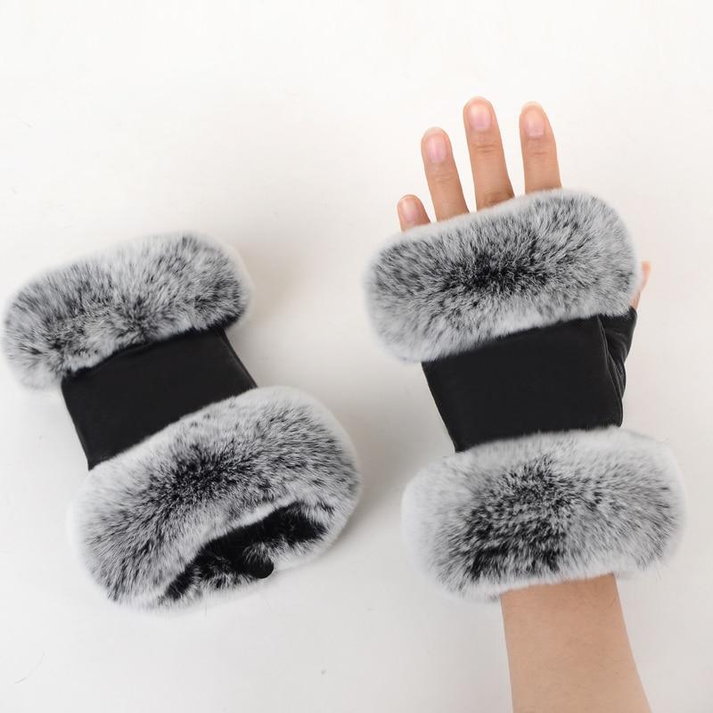 Image 2 - Зимние Модные черные перчатки из натуральной кожи, перчатки из овечьей кожи, кроличий мех, перчатки без пальцев, перчатки мех кролика-in Женские перчатки from Аксессуары для одежды on AliExpress - 11.11_Double 11_Singles' Day