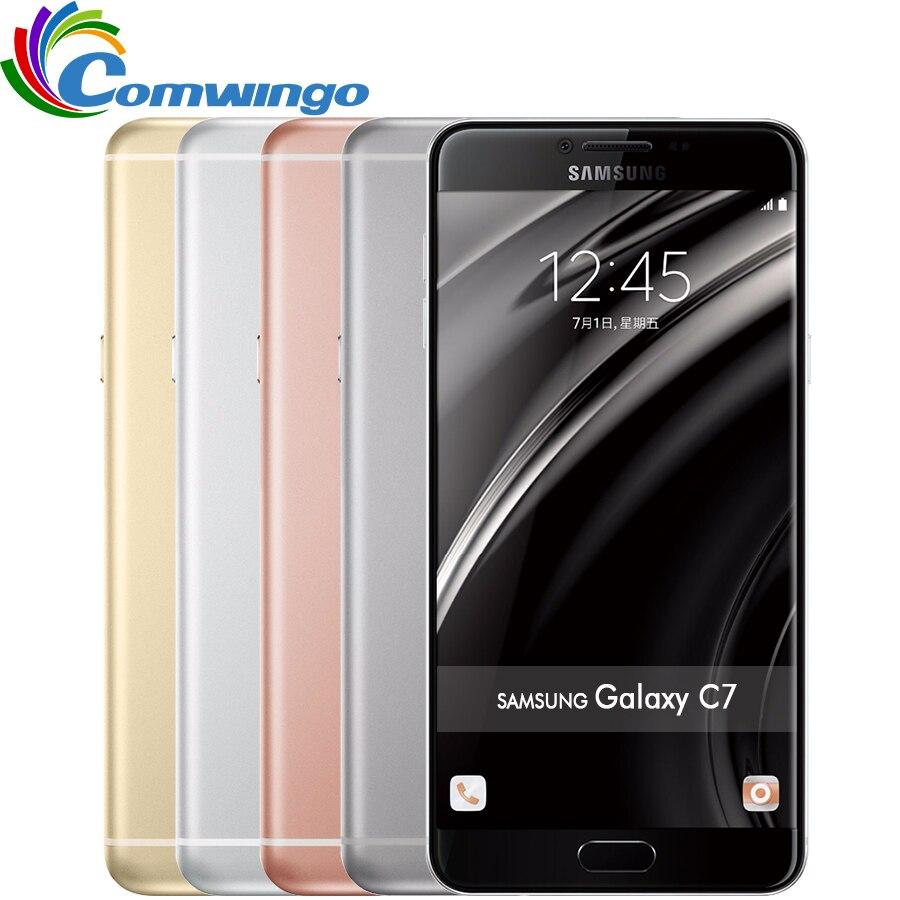 Original <font><b>Samsung</b></font> Galaxy C7 mobile phone Android6.0 4GB RAM 32/64GB ROM 16MP Camera 5.7 inch Smart Cell Phone