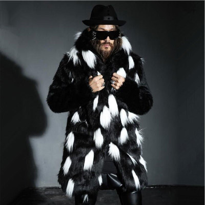 S/4Xl Mens Imitation Fur Jackets Long Section Hooded Black White Winter Warm Mixed Color Fake Faux Fox Overcoats Top K1125