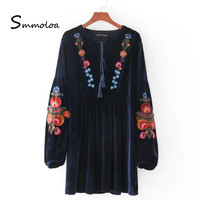 Smmoloa Europe And America Fashion Trend Embroidery Velvet Dress
