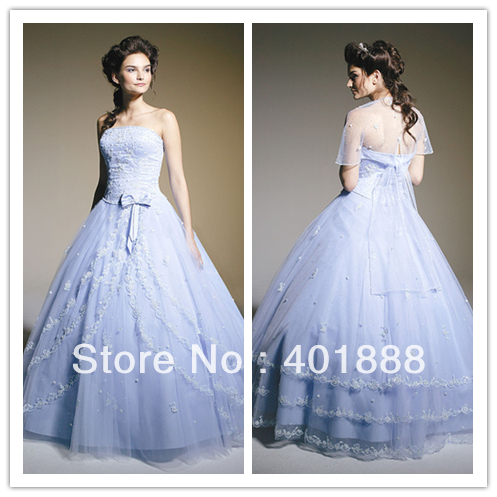 2013 new arrival ice blue ball gown organza applique for Ice blue wedding dress