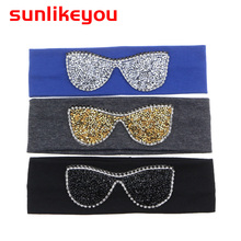 Sunlikeyou New Arrival Baby Headband Rhinestone Glasses Cotton Hair Band 2019 Summer Style For Girls Accessories
