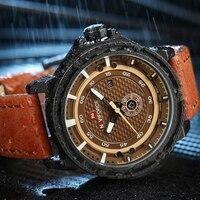 NAVIFORCE Men S Fashion Casual Sports Watches Men Waterproof Military Quartz Watch Man Leather Strap Clock
