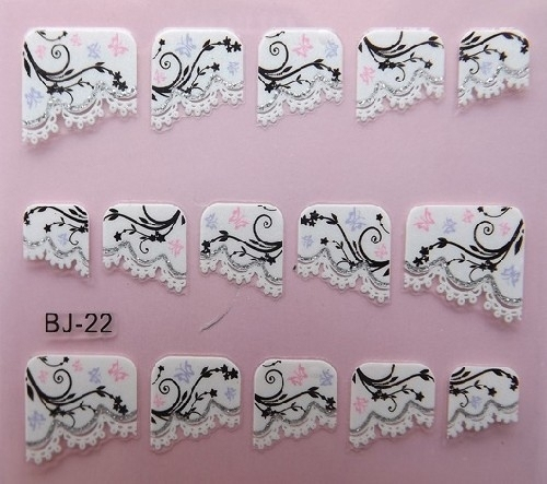 wholesale latest 3D franch fake nail sticker flower gridding nail decoration Free shipping 1000pcs/lot free EMS/DHL shipping