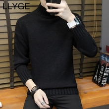 2018 New Mens Half Turtleneck Sweater Long Sleeve Autumn Winter Thick Solid Knitted Pullover Men Casual Korean Slim Warm Sweater