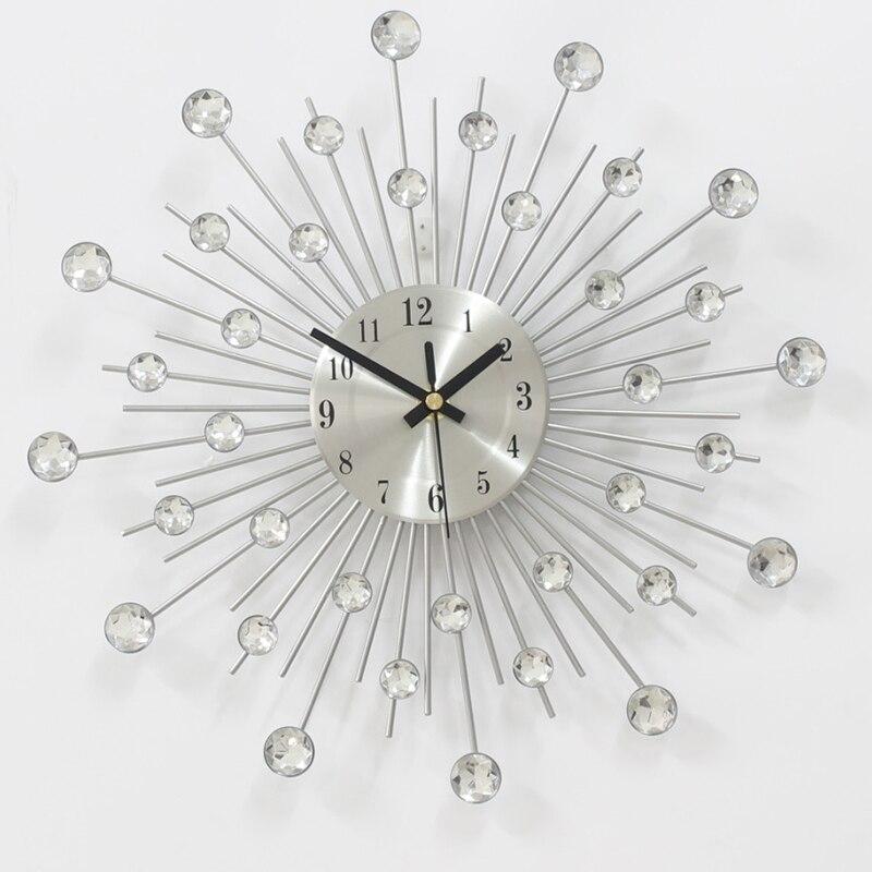 Metal Wall Clock Fashion Modern Decoration Clock With Rhinestones Fashion Luxury Living Room Art Clock Silver