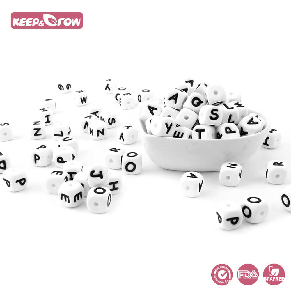 Keep&Grow 100Pcs 12MM Silicone Letter Beads BPA Free Baby Teethers English Alphabet Letters Food Grade Baby Teething Beads