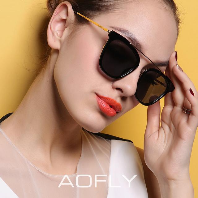 Aofly moda marca óculos polarizados mulheres cat eye sunglasses polaroid óculos espelhados revestimento ao ar livre do estilo do verão 6 cores