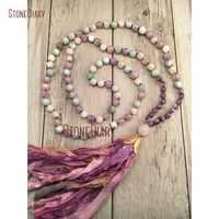 Cura aquamarinas ametistas e moonstone mala colar sari seda borla mão atada 108 mala contas boho jóias nm11114