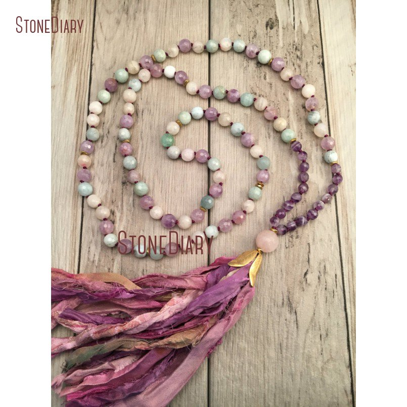 Healing Aquamarines Amethysts and Moonstone Mala Necklace <font><b>Sari</b></font> <font><b>Silk</b></font> <font><b>Tassel</b></font> Hand knotted 108 Mala Beads Boho Jewelry NM11114 image