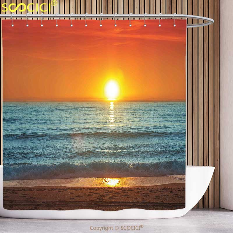 Waterproof Shower <font><b>Curtain</b></font> Tropical Sunset over the Sea Misty Horizon Ocean Dreamy Sky Peaceful Picture Orange Marigold
