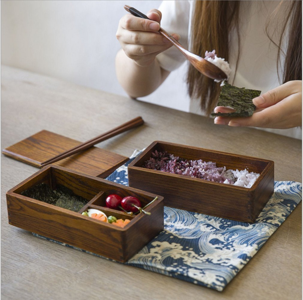 Eco-friendly Lunch Case Japanese Style Natural Wood Bowl Brown Color Wooden Bento Box Lunch Box