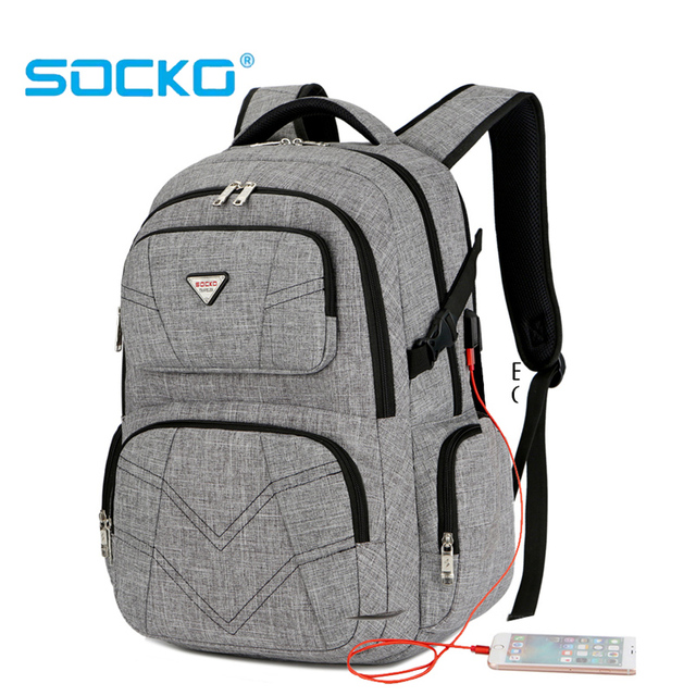 Big capacity USB charging laptop backpack travel bag business knapsack for 15.6~17inch laptop School backpack for man anti thief