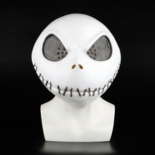 New The Nightmare Before Christmas Jack Skellington White Latex Mask Movie Cosplay Props Halloween Party Mischievous Horror Mask цена