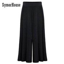 SymorHouse  new arrival Plus size XL-6XL Summer Women Wide Leg Loose Dress Pants Female Casual Skirt Trousers Capris Culottes