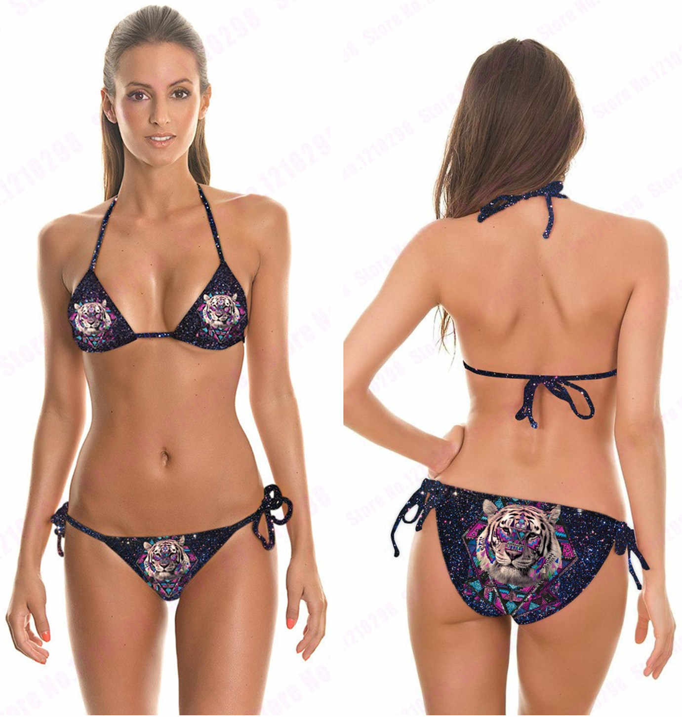 e1bd2fcdad Black Leopard Swimsuits 2 Piece Black Beachwear With Adjustable Strap Sexy  White Tiger 3D Printed Bikini