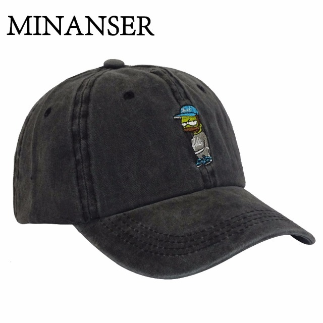 MinanSer Men s Washed Cotton Baseball Cap Vintage Simpsons embroidery  womens baseball hats Mens Dad Cap Hat 22a1eb5623f