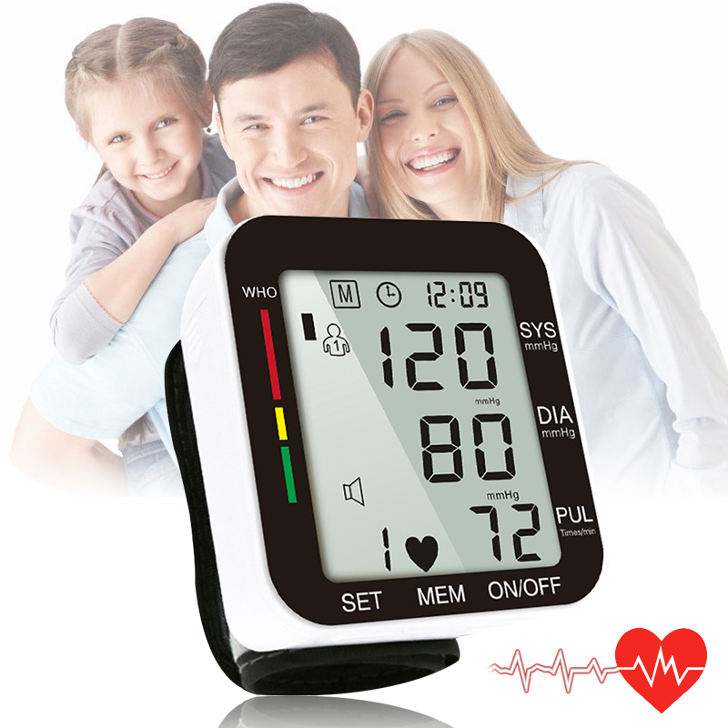 OPHAX Haushalt Automatische Digitale Handgelenk Blutdruck Monitor Gauge Meter LCD Display Herzschlag Rate Pulse Meter Messen