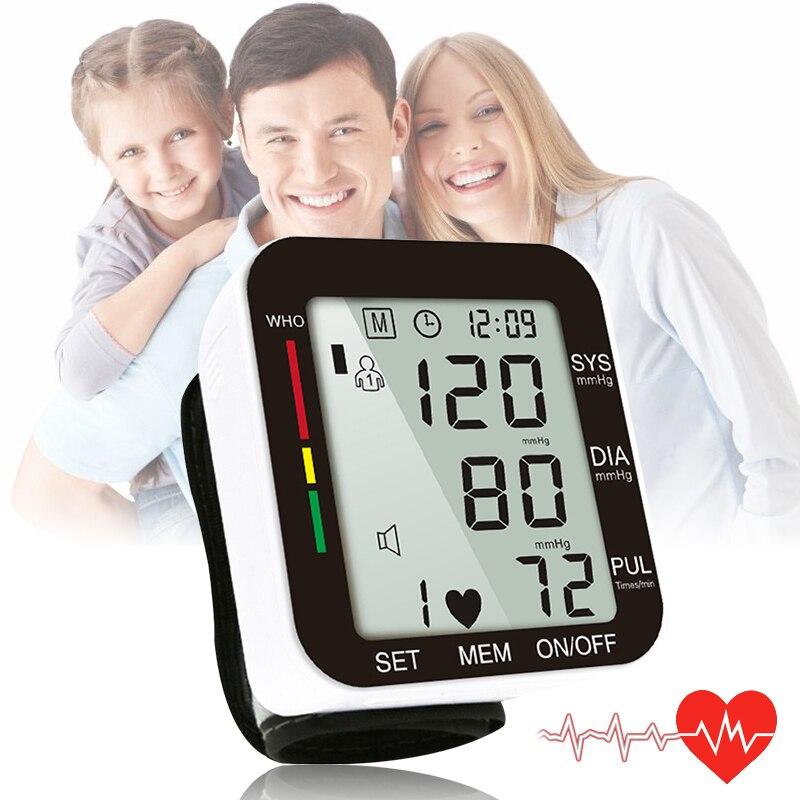 OPHAX hogar Digital automático de muñeca Monitor de presión arterial Metro pantalla LCD corazón ritmo pulso Meter medida