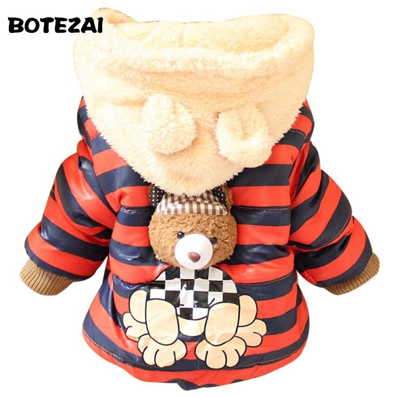 2017 New Cartoon Bear Baby Boys Jacket Kids Winter Keeping Warm Cotton Hoodies Coat Children Casual Outerwear Clothing