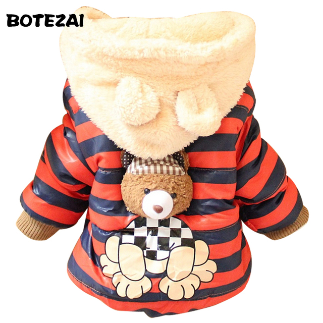 2017 New Cartoon Bear Baby Boys Jacket Kids Winter Keeping Warm Cotton Hoodies Coat Children Casual Outerwear Clothing