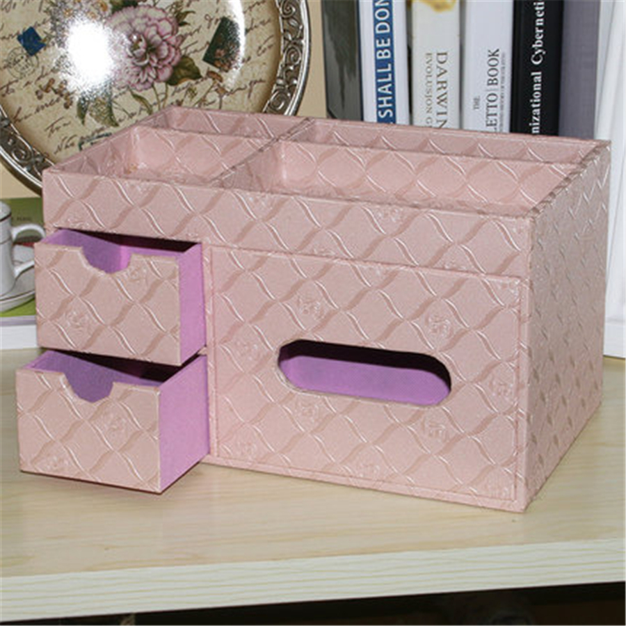 Leather Drawer Cosmetic Boxes Sets Desktop Storage Office Organizer Multifunction Table Debris Finishing Storage Box DDP74